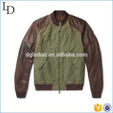 Quintal de casaco de caça de lona de algodão lavado com jaqueta de manga de couro