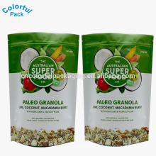 custom printed food resealable stand up pouch for packaged nuts and snacks bags