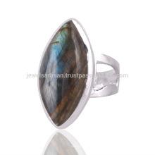 Großhandel blaue Feuer Labradorit Edelstein 925 Sterling Silber Ring Schmuck
