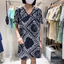 100% coton tissu imprimé stock pour les femmes robe