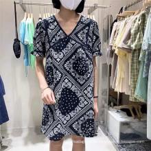 Vestido de tejido estampado 100% algodón para mujer