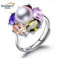 Anillo de perlas de agua dulce de moda 9-10mm AAA Buttton 925 Anillo de plata original de perlas
