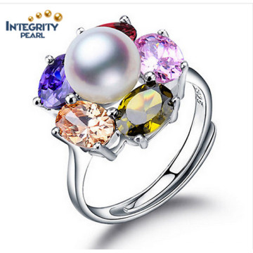 Мода пресной воды Перл кольцо 9-10 мм AAA Buttton 925 Серебряный Оригинальное кольцо Перл