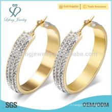 Boucles d'oreilles en or en acier inoxydable, boucles d'oreilles pour femmes