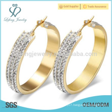 Wholesale white crystal ethnic 14 k gold hoop earrings made in china