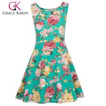 Grace Karin Kinder Kinder Mädchen Ärmelloser Rundhalsausschnitt Blumen gedruckt A-Linie Sommerkleid CL010487-3
