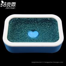 Boîte à savon en plastique avec éponge en maille
