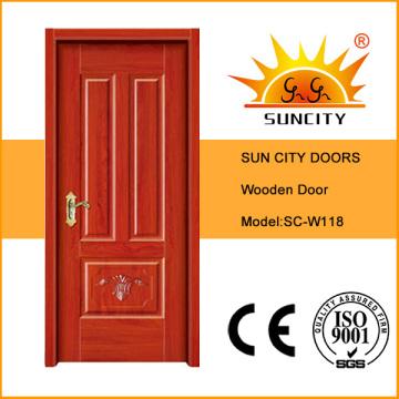 Interior de puerta de madera sólida de habitación de precio barato (SC-W118)