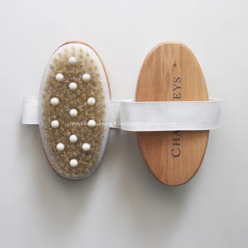 Brosse de bambou en poils de sanglier pour massage de douche