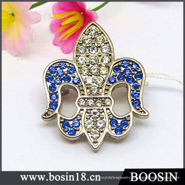 Personalizado liga strass flor de lis broche de jóias