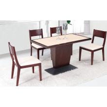Modern Coffee Shop Restaurant Tisch mit Metallgestell und massivem Holz Beige gepolstertem PU Stuhl (FOH-BCA04)