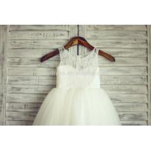 Appliques élégantes en dentelle blanche Fermoir à glissière arrière Organza Robe personnalisée à fleurs FGZ08 Robe fille de 3 ans