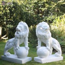 Garden Handmade Carving Animal Sculpture Large Marble Lion Statue Animal Sculpture