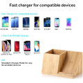 Bamboo Wireless Charger with Organizer Wood Wireless Charging Station