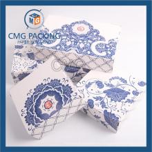 Неприкрашенная синяя цветочная печать Маленькая коробка для торта для бумаги (CMG-box-009)