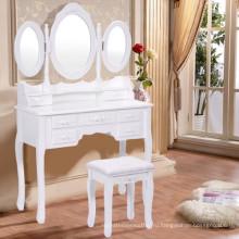 Белый Tri Складной Овальный Зеркальный Деревянный Тщеславный Стол Набор Для Макияжа с Табуретом и 7 Ящиками ванной