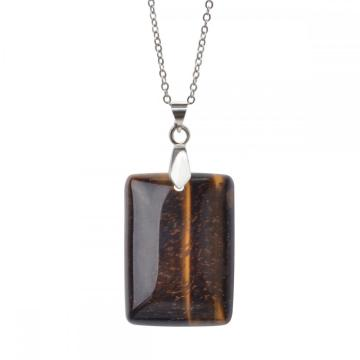 Natural Tiger Eye Men Healing Rectangle Collar de piedras preciosas colgante