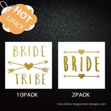 12PCS/Set Wedding Bridal Bachelor Party Hot Stamping Tattoo Stickers Set