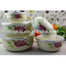 fashional enamel bowl sets with PP lid