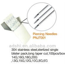 2013 ADShi Alta calidad de acero inoxidable EO gas esterilizado cuerpo agujas piercing