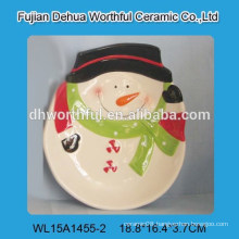 Christmas decoration ceramic plate with snowman shape