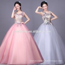 Vestido de bola hinchado de la princesa vestido de boda brillante colorido de la gasa Vestido de bola rosado gris de la tarde
