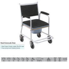 Strong Steel Commode Chair with Footrest