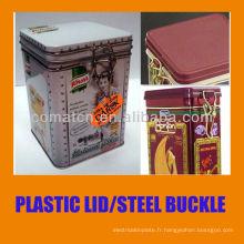 Couvercles hermétiques en plastique avec boucle en acier fantaisie de fer-blanc peuvent utilisation