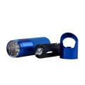 Glow in the Dark Metal Aluminium lampe de poche LED avec ouvre-bouteille