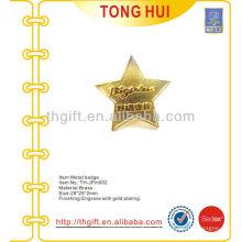 Pino / crachá de lapela de lembrança com forma de estrela metálica com design 3D