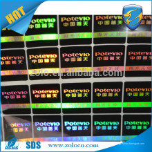 Buena calidad Etiquetas engomadas de encargo del holograma de Shenzhen ZOLO