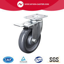 Medium 5 inch 150 kg Plate Brake PU Caster