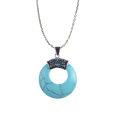 New Arrive Round Shape Turquoise Stone Pendant Necklace for Women