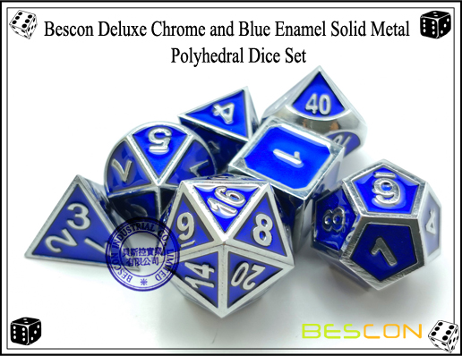 Bescon Deluxe Chrome and Blue Enamel Solid Metal Polyhedral Role Playing RPG Game Dice Set (7 Die in Pack)-6