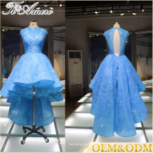 2017 Tiamero reunião anfitrião formal festa do chá azul frente curto Long Back vestido de dama de honra assimétrico