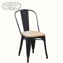 Venta al por mayor de muebles baratos de Alibaba, metal negro, silla de comedor, silla antigua con barra de madera en la parte superior