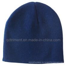 Promoción Invierno caliente 100% acrílico hecho punto gorrita tejida del esquí (TMK0271-1)