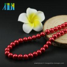 Perles rondes en verre de forme de boule en vrac UA74 collier de Siam faisant des perles en verre en gros