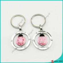 Pink Enamel Lady Beetle Charms Keyrings Wholesale (KR16041914)