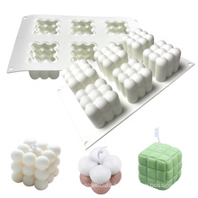 Handmade DIY 6 Cavities 3d Rubik Cube Candle Making Mold Silicone Bubble Candle Mould