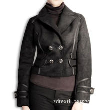 Black Women's Casual Jacket, Made of 100% Polyester Suede Bonded