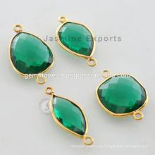 Oro Vermeil chapado verde esmeralda cuarzo facetado Gemstone Bisel Conector Fabricante y Proveedores