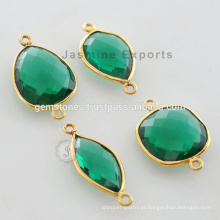 Gold Vermeil Plated Green Emerald Quartz Faceted Gemstone Bezel Connector Fabricante e Fornecedores