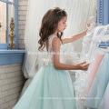 Новая мода фея западные наряды девочка платье неделю в целом в зеленой бисера кружевной девочка цветочные узоры платье бесплатных для производительности
