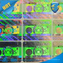 Étiquette d'autocollant d'hologramme adhésif / autocollant d'hologramme d'argent / logo propre autocollant laser