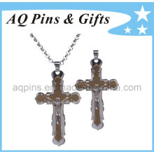 Zinc Cross Medal with Silver Chain