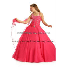 El hombro libre de la venta al por mayor uno del envío rebordeó el vestido de bola rojo de las niñas de los vestidos CWFaf5267