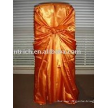 Satin fabric chair cover,orange satin bag chair cover, chair cover sash,hotel chair cover