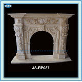 Hot Sale Flower Carved Marble Stone Carved Fireplace