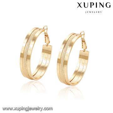 94368 -Xuping Jóias mais recente graciosa simples ouro hoop brinco projetos para as mulheres